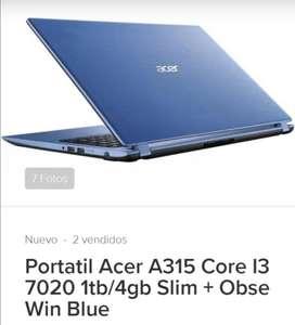 Vendo Portátil Acer A315 Core 13 7020