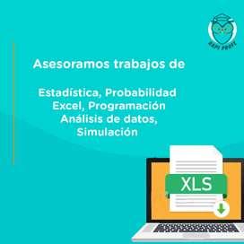 Asesoramos trabajos, tareas de estadística, probabilidad, programación, excel, análisis de datos, simulación.