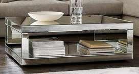 mesa de centro en espejo biselado