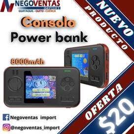 CONSOLA DE VIDEOJUEGOS TIPO POWERBANK NUEVAMENTE EN STOCK EN OFERTA ÚNICA DE NEGOVENTAS.