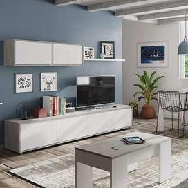 MODULAR MODERNO RACK PARA TV LCD LED CON VAJILLEROS  Y REPISA