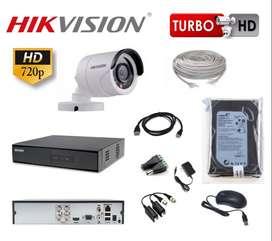 KIT DE 1 CÁMARA DE SEGURIDAD EN HD 720 HIKVISION MAS 30 m. de CABLE