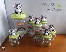 Hermosos frascos decorados en Porcelana fria