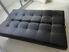 Sofá cama en eco cuero 3 puestos