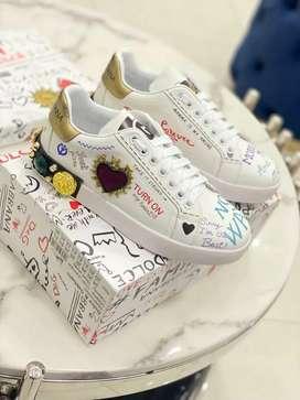Tenis zapatillas dolce gabbana blancos dama piedras
