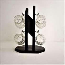 pocillos en vidrio set x 4  mueble