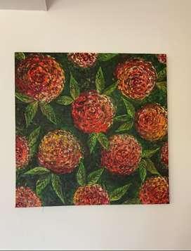 Cuadro en óleo. Flores en relieve