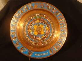 Calendario Azteca Piedra Del Sol cobre tallado y esmaltado Tallado     -  mira mi perfil   !!
