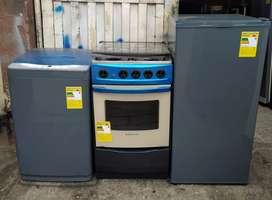 Juego de electrodomésticos de segunda garantizados (nevera, estufa, lavadora)