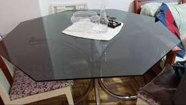 Mesa de exagonal de vidrio