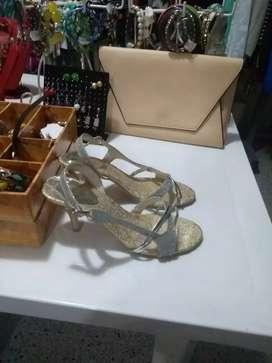 1 sandalias plateadas nuevas talla 37