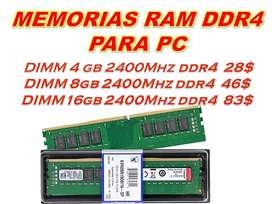 PRECIAZOS¡ Memoria Ram 4GB 8GB 16GB Ddr4 Pc 2400 Mhz 2666 MHz 288 pines Kingston