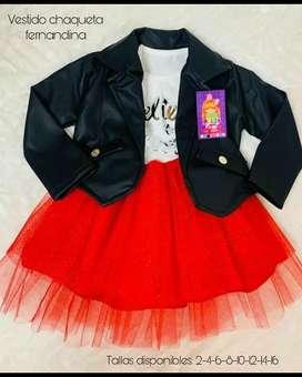 Conjunto hermoso vestido con chaqueta para niñas