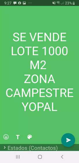 SE VENDE LOTE 1000 M2 CAMPESTRE