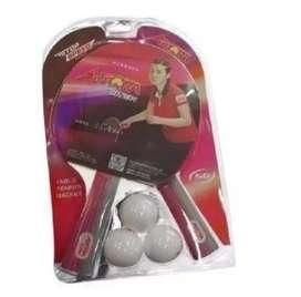 Raquetas +3pelotas Ping Pong Speed Aurora Racke