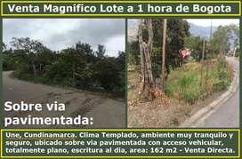 Venta Magnifico Lote a 1 hora de Bogota, en Une Cundinamarca