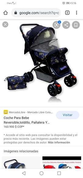 Coche para bebé manija reversible, toldillo y pañalera. Marca moody.