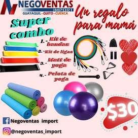 MEGA COMBO DEPORTIVO POR EL DIA DE LAS MADRES KIT DE LIGAS + KIT DE BANDAS + MATT DE YOGA + PELOTA YOGA