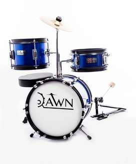 Bateria Dawn DR19BL junior + Platillos base silla Azul  3Pz  Music Box