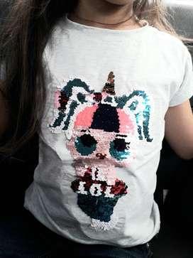 Blusas para niñas en lentejuela reversible