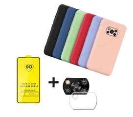 Estuche Xiaomi Poco X3 Silicona + Vidrio Templado 9d + Protector Camara