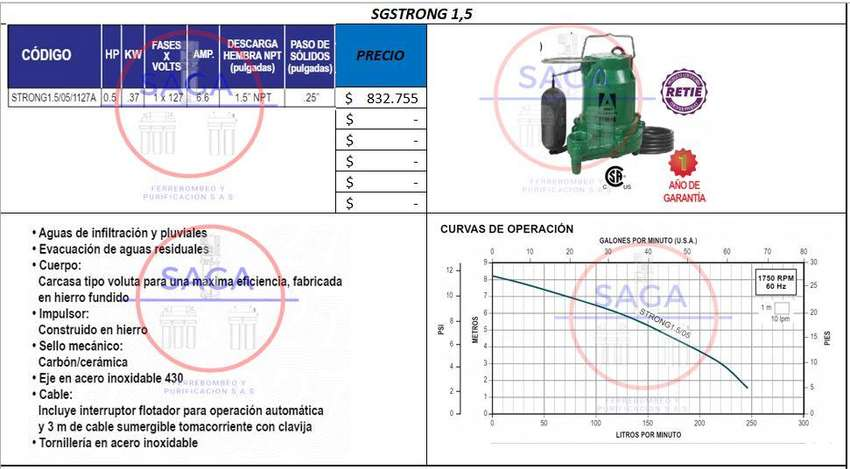 Motobomba Para Lodos, Aguas Pluviales, Electrobomba, Bomba 0
