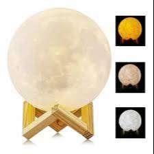 Lampara Luna Grande 3d Cambia Colores + Base + Control