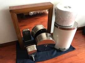 Dispensador de jabon, de papel, caneca, mueble espejo