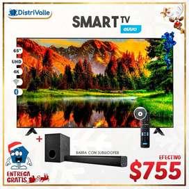 "Smart Tv Evvo 65"" UHD 4K Android Bluetooth Comando de Voz + Barra de Sonido con Subwoofer"