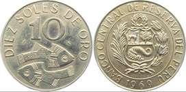 Monedas de 10 Soles de Oro Año 1969