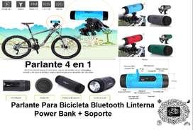 Parlante Para Bicicleta Bluetooth Linterna Power Bank+ Soporte