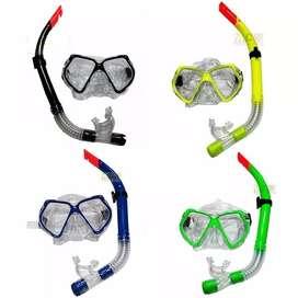 Set Careta Y Snorkel Swimmer Buceo Silicona Doble Válvula