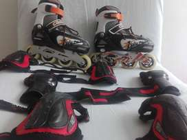 patines chicago ajustables + protecciones + casco