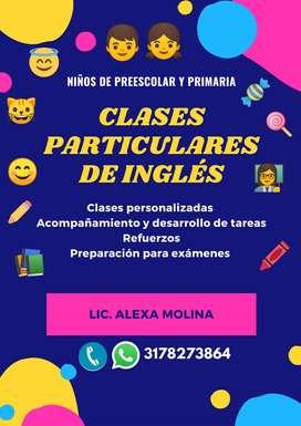 Se dictan clases de inglés a niños de primaria y preescolar