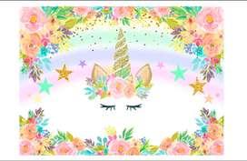 Fondo de unicornio para fiesta de cumpleaños de niñas, diseño de flores, color rosa