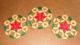 Juego de posa vasos artesanales de madera