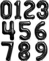 Globos Metalizados Números Negros Gigantes 90 Cms