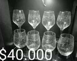 Juego de vasos y copas