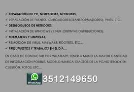 Reparación, desbloqueo de Netbooks, Servicio Técnico