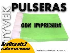 PULSERAS DE TYVEK IMPRESAS X 100 UNIDADES