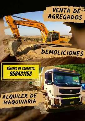 Venta de agregados, demoliciones y alquiler de maquinaria pesadas