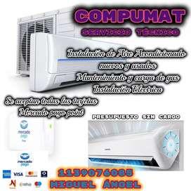 Instalación de aire acondicionado nuevo y usando