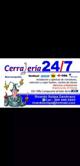 Urgencias 24/7 en  cerrajería