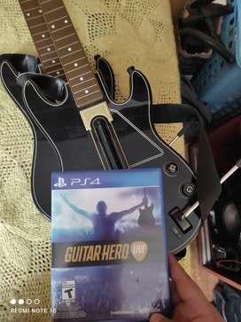 Guitarras originales y juego guitar gero live para ps4