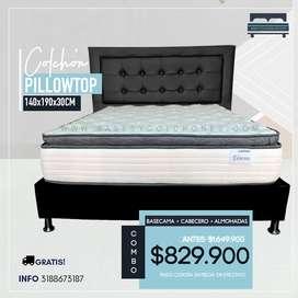 COMBO COMPLETO! 140X190 colchón pillowtop 30cm + base dividida + espaldar +  2 almohadas + domicilio gratis en Bogotá