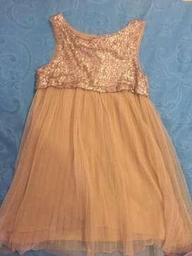 Vestido niña fiesta dorado ZARA