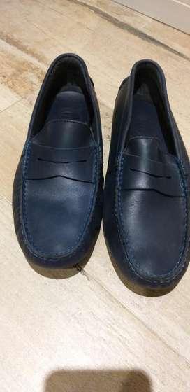 Zapato Cuero Mocasin N 39 Azul