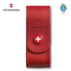 Estuche Victorinox Cinturón de Piel Rojo Para Navajas 91 mm, Cuero (Delgado)