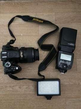 Camara nikon D5200+Flash YN660+Lampara 3 tipos de luz.