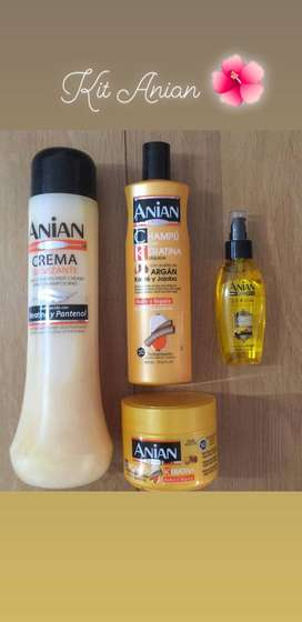 Champú, crema suavizante, mascarilla, Serum de Oro marca Anian